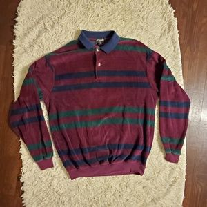 Vintage Striped Velour Collared Pullover Sweater